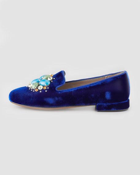 Etoile Velvet Jewel-Embellished Slipper, Navy