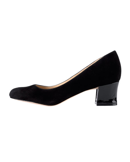 Chelsea Suede Low-Heel Pump, Black