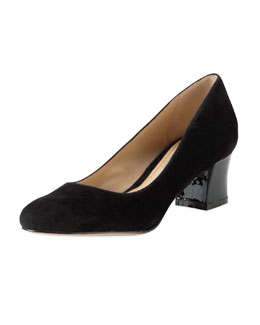 Cole Haan Chelsea Suede Low-Heel Pump, Black