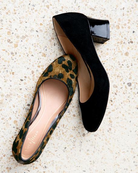 Chelsea Leopard-Print Calf Hair Low-Heel Pump