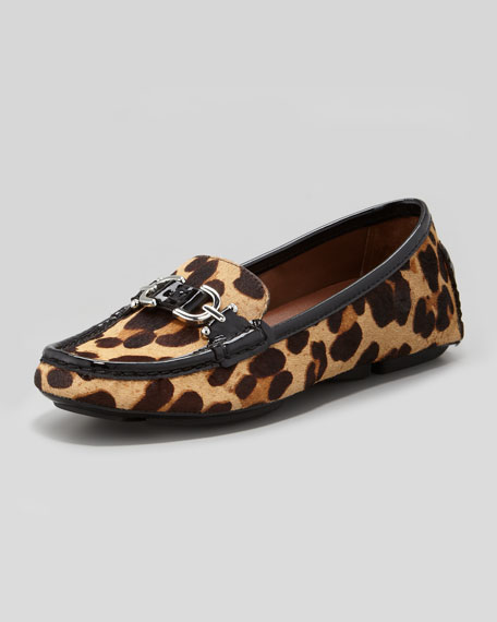 Viky Animal-Print Calf Hair Driver Shoe