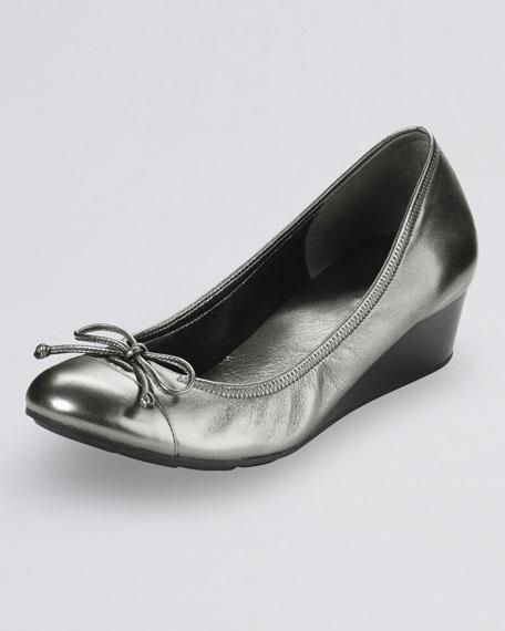 Air Tali Lace-Up Metallic Wedge, Dark Silver