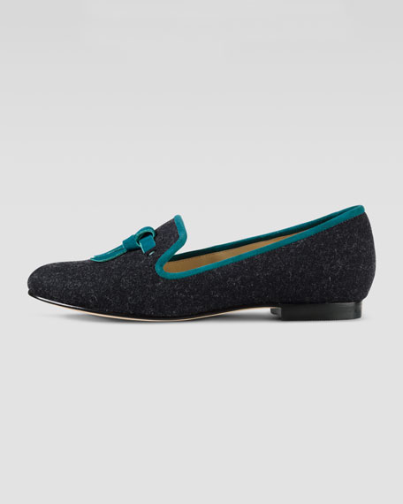 Sabrina Tassel Suede-Trim Flannel Loafer, Black