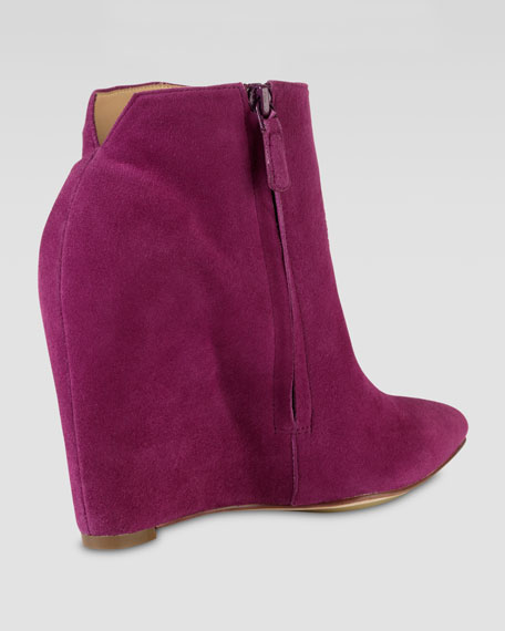 Verdi Suede Point-Toe Bootie, Winery