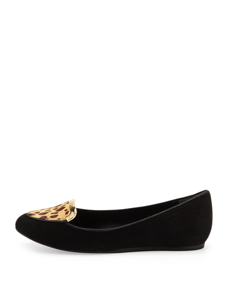 Jess Suede and Calf Hair Loafer, Black Cheetah