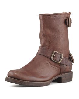 Frye Veronica Short Back-Zip Boot, Dark Brown