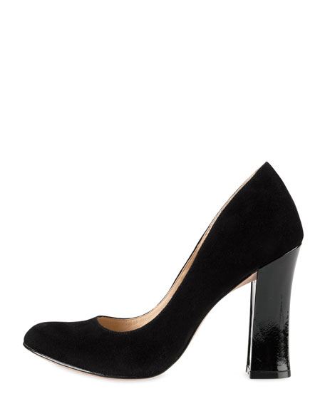 Chelsea Suede Flared-High-Heel Pump, Black