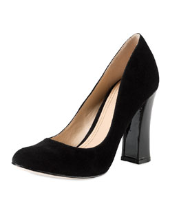 Cole Haan Chelsea Suede Flared-High-Heel Pump, Black