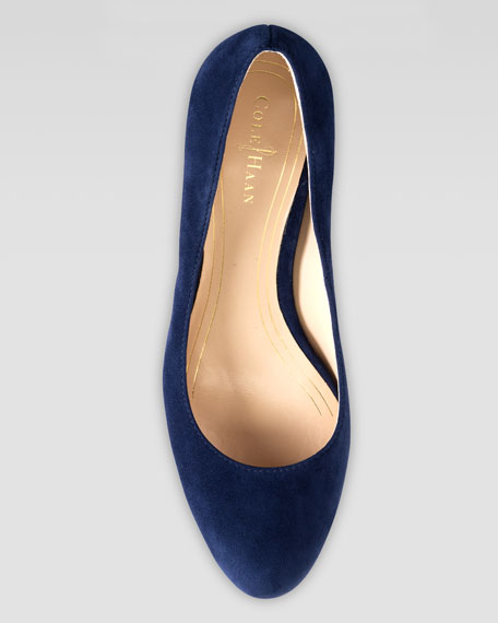 Chelsea Suede Low-Heel Pump, Blue