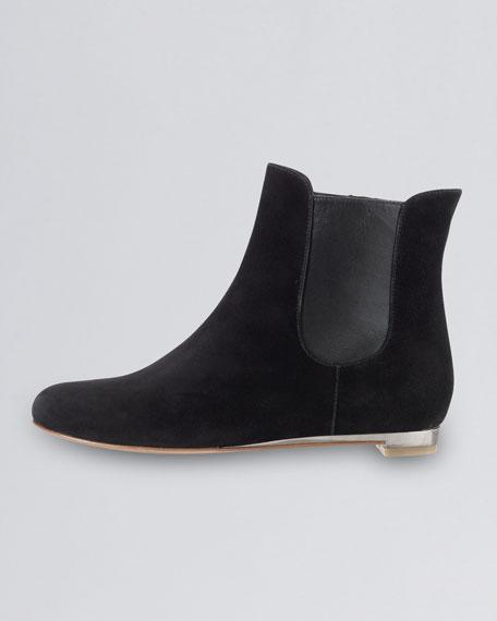 Astoria Short Suede Flat Boot, Black