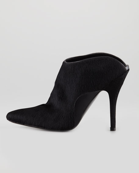 Miranda Calf-Hair Slide Bootie, Black
