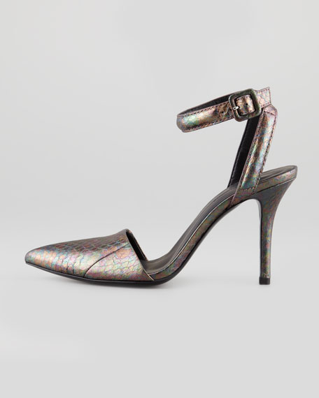 Lovisa Shiny Watersnake Ankle-Wrap Pump, Abalone