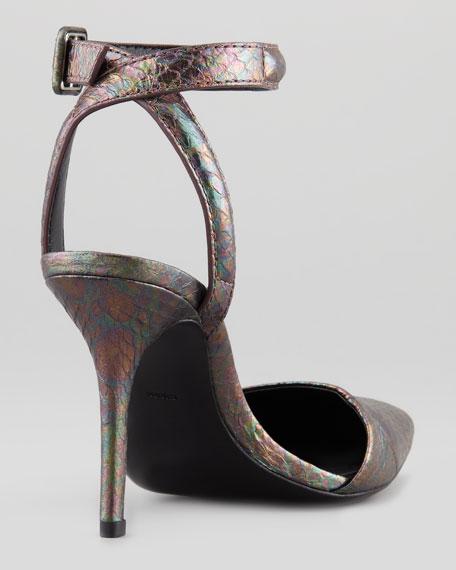 Lovisa Shiny Watersnake Ankle-Wrap Pump, Abalone
