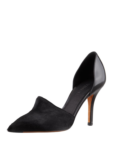 Claire Two-Piece Calf Hair Pump, Black