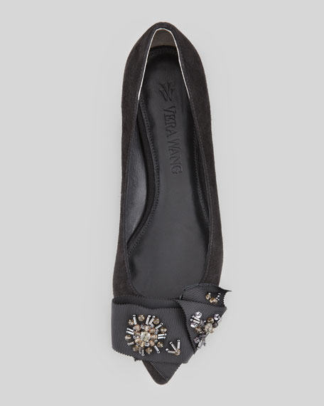 Aggy Kid Suede Bow-Toe Flat, Black