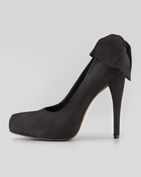 Jane Bow-Back Suede Pump, Black