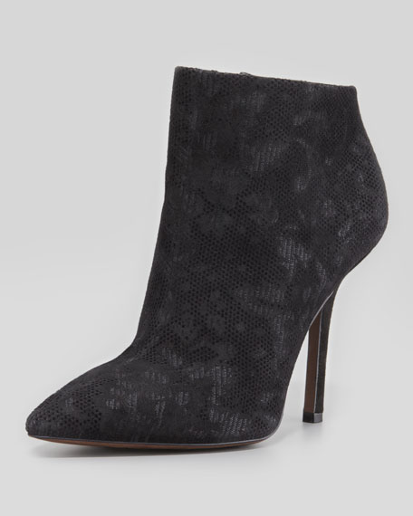 Bianca Lace-Print Flocked Suede Bootie, Black