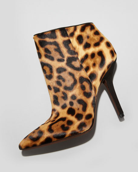 Bianca Leopard-Print Calf Hair Ankle Boot