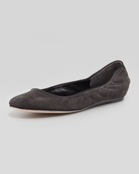 Lillian B Suede Ballerina Flat, Black