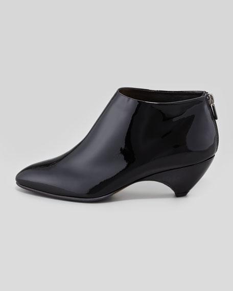 Patent Low-Heel Ankle Bootie, Black