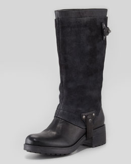 Vera Wang Lavender Essie Suede-Shaft Harness Boot, Black