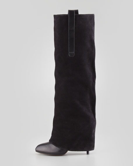 Shai Slouchy Mixed-Media Riding  Boot, Black