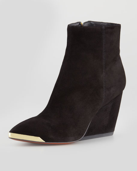 Nadia Metal-Toe Suede Wedge Bootie, Black