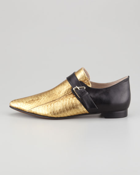 Roland Snakeskin Monk Shoe, Gold/Black
