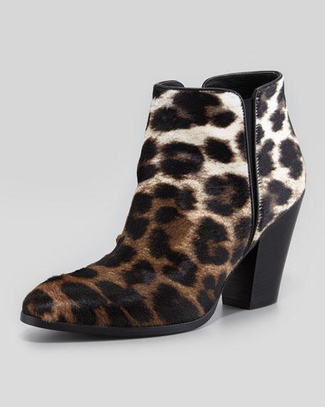 Leopard-Print Ombre Calf Hair Bootie, Naturale