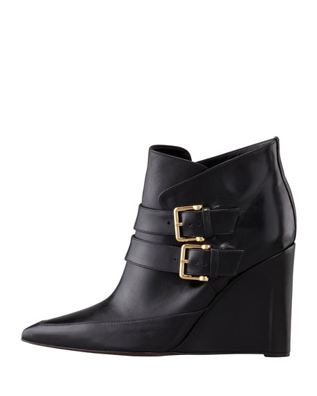 Marta Buckled Wedge Bootie, Black