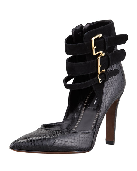 Paloma Ankle Strap Pump, Black