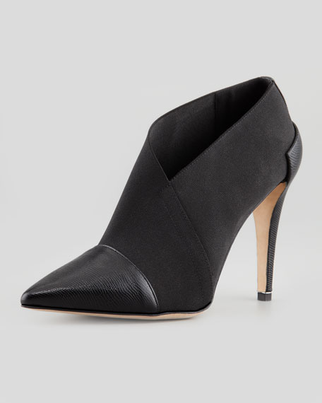 Brett Pointy-Toe Stretch Bootie, Black