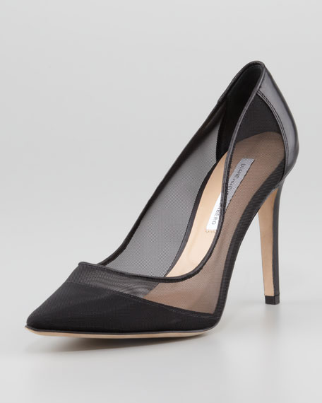 Bianca Mesh Pointy-Toe Pump, Black