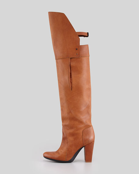 Ora Runway Over-the-Knee Buckle-Back Boot, Cognac
