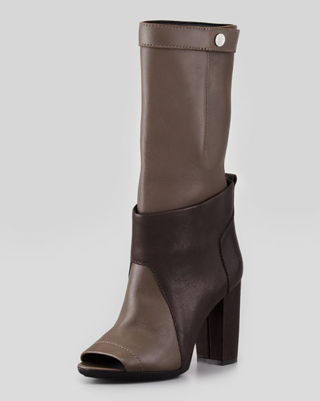 Issa Slouchy Layered Peep-Toe Boot