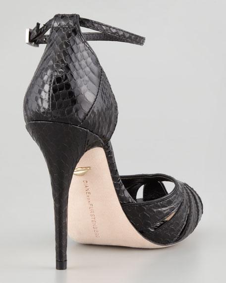 Jemma Snake-Print Ankle-Strap Sandal