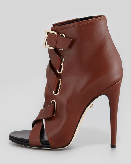 Radcliff Lace-Up Peep-Toe Bootie