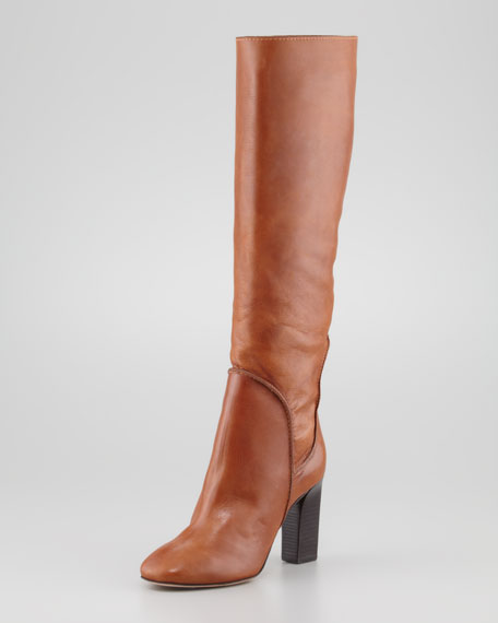 Genna Tall Leather Slouch Boot, Cognac
