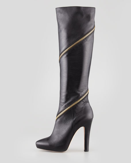 Cambria Zip-Around Knee Boot, Black