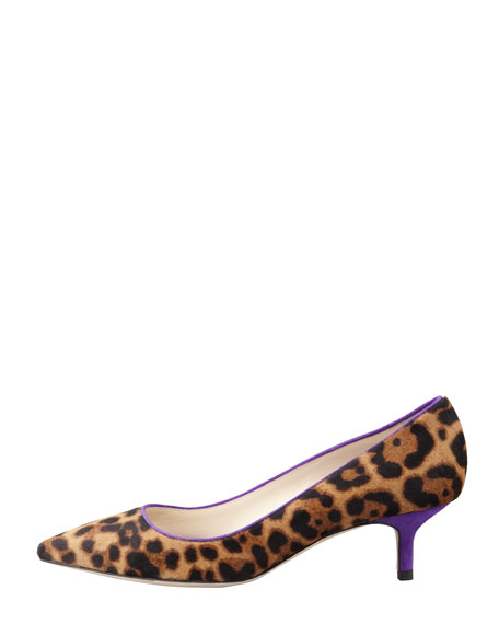 Low-Heel Leopard-Print Calf Hair Pump, Gold/Violet