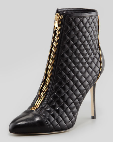 Quilted Zip-Front Leather Ankle Boot, Black