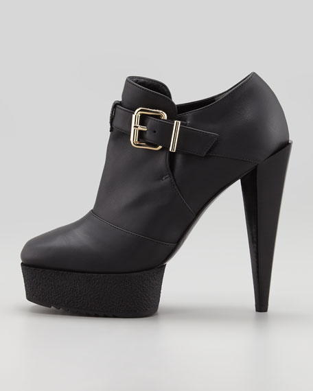 Platform Buckled Ankle Bootie, Black