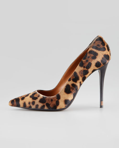 Leopard-Print Calf Hair Point-Toe Pump