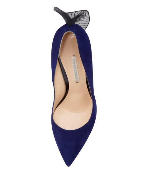 Frill-Back Suede Pump, Indigo/Black