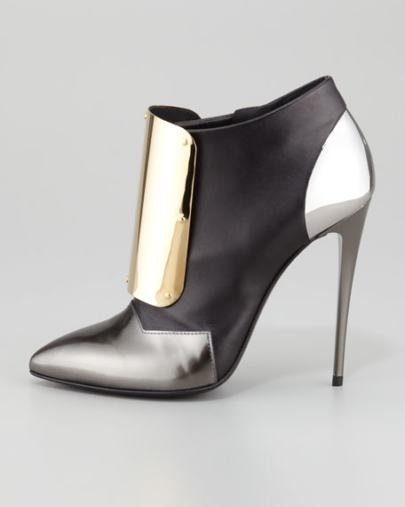Metal-Detail Leather Ankle Bootie, Black/Silver/Gold