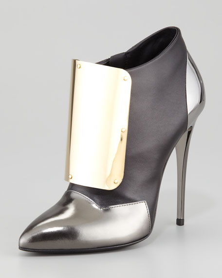 Giuseppe Zanotti Metal-Detail Leather Ankle Bootie, Black/Silver/Gold