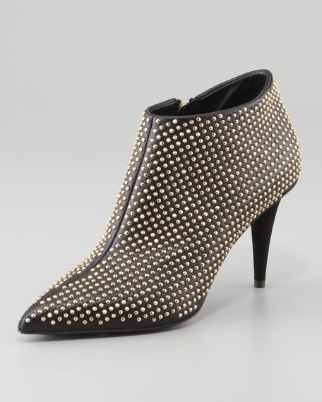 Studded Pointy Ankle Bootie, Black/Golden