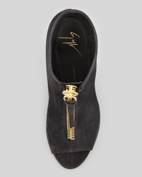 Nubuck Front-Zip Peep-Toe Ankle Boot