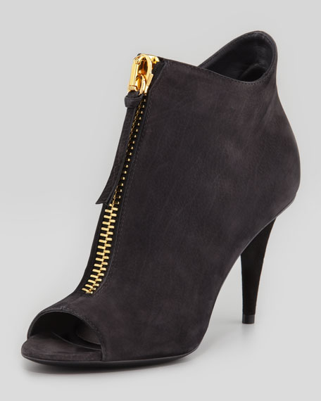 Nubuck Front-Zip Peep-Toe Ankle Boot