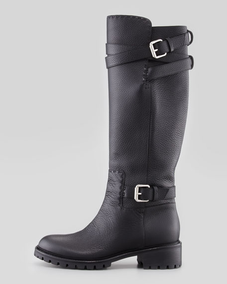 Buckle Strap Leather Knee Boot, Black